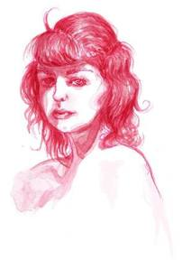 Portrait of a girl done in soft red watercolor.