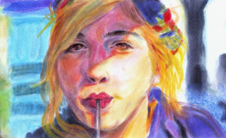 Close up of a girl drinking through a straw done in soft and colorful pastels.