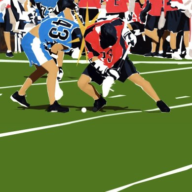 Two Lacrosse players hitting each other on the field done with graphic shapes.