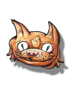 Orange floating cat head.