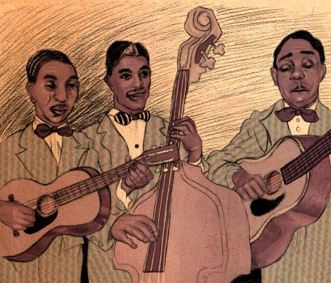 Old-style jazz band playing guitars and an upright bass.