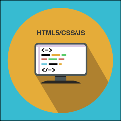 An image of a computer screen with HTML coding symbolized with shapes.
